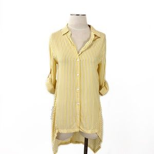Max Studio- Yellow Stripe High-Low Button Down Med